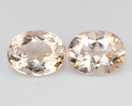 3.51 Cts 2pcs Pair Oval Shape  9x7 mm Natural Pink Color Morganite Gemstone