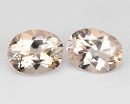 3.23 Cts 2pcs Pair Oval Shape  8.92 x 7.08 mm Natural Pink Color Morganite