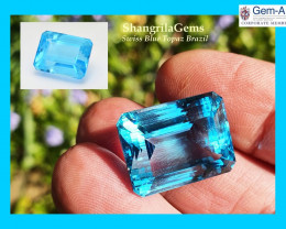 19.4mm 38ct SWISS BLUE Topaz octagon rectangle gemstone