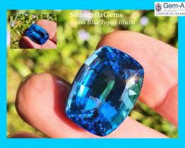 21mm 31.64ct SWISS BLUE Topaz cushion rectangle gemstone AAA