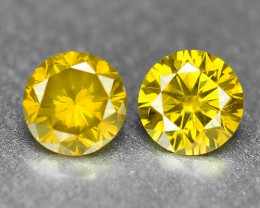 0.37 Cts 2pcs Pair Sparkling Rare Fancy Vivid Yellow Color Natural Loose Di