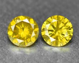 0.37 Cts 2pcs Pair Sparkling Rare Fancy Vivid Yellow Color Natural Loose Di
