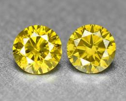 0.49 Cts 2pcs Pair Sparkling Rare Fancy Vivid Yellow Color Natural Loose Di