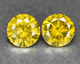 0.40 Cts 2pcs Pair Sparkling Rare Fancy Vivid Yellow Color Natural Loose Di