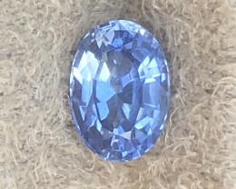 Nice blue oval unheated sapphire from Sri Lankan mines.  Untreated gemstone.
