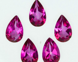 4.89 Cts Candy Pink Natural Topaz 8x5mm Pear Cut 5Pcs Brazil