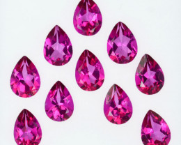 8.15 Cts Candy Pink Natural Topaz 7x5mm Pear Cut 10 Pcs Brazil