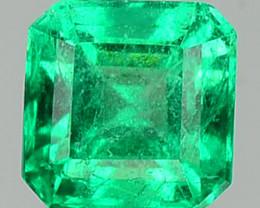 Natural Vivid Green Emerald Octagon Cut Colombia 0.42 Cts