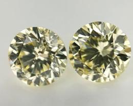 0.35 Cts  , Rare Natural Diamonds , Light Yellow Color , WR1328
