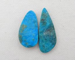 30.5cts 2pcs Beautiful Blue Opal Raw Cabochons, October Birthstone, Blue Op
