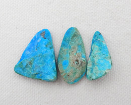 32.5cts 3pcs Beautiful Blue Opal Raw Cabochons, October Birthstone, Blue Op
