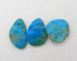 31cts 3pcs Beautiful Blue Opal Raw Cabochons, October Birthstone, Blue Opal