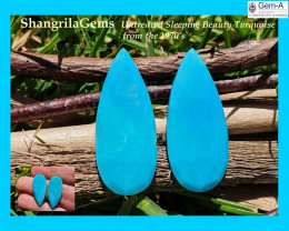 25mm Pair Sleeping Beauty Turquoise drop pear faceted cabochon