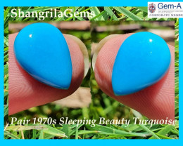 14mm Sleeping Beauty Turquoise pair of pear shape cabochon from the 1970s