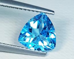 1.96 ct Top Quality Gem Excellent Triangular Cut Swiss Blue Topaz