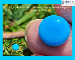 9.75mm Sleeping Beauty Turquoise round cabochon mined in the 1970s