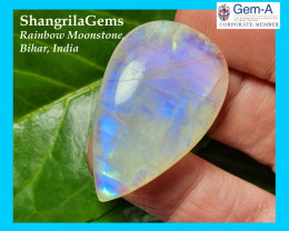 38mm 55ct rainbow moonstone drop pear cabochon 38 by 23 by 7mm