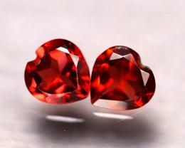 Rhodolite 1.83Ct 2Pcs Natural Cherry Red Rhodolite Garnet D0230/B27