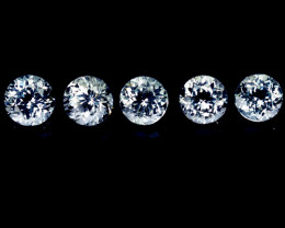 ~UNHEATED~ 5.60 Cts Natural Sparkling White Topaz 5Pcs Round Cut Brazil