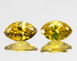 0.23 Cts Natural Diamond Golden Yellow 2Pcs Marquise Cut Africa