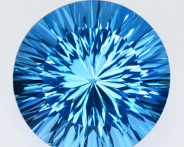 ~STUNNING~ 31.25 Cts Natural Baby Blue Topaz Round Concave Cut Brazil