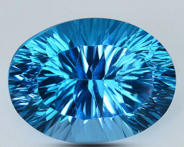 ~PERFECT~ 24.36 Cts Natural Baby Blue Topaz Oval Concave Cut Brazil