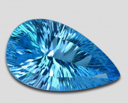 ~MARVELOUS~ 20.55 Cts Natural Baby Blue Topaz Pear Concave Cut Brazil