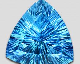 ~GENUINE~ 20.56 Cts Natural Baby Blue Topaz 18mm  Trillion Concave Cut Braz