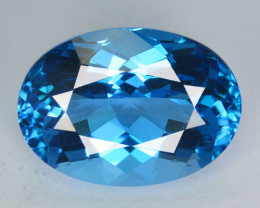 ~SUPREME ~ 7.84 Cts Natural Swiss Blue Topaz 14 X 10mm Oval Cut Brazil