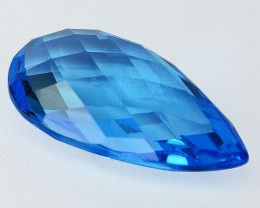 ~AWESOME~ 12.06 Cts Natural Topaz Sky Blue Pear Checkerboard Brazil