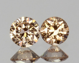 ~UNTREATED~ 0.07 Cts Natural Peach Diamond 2mm Round Cut 2Pcs Africa