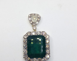 14.20ct Exclusive  Diamond Pendant set with  Emerald, 14kt Yellow Gold