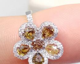 1.60ct Unique  Fancy Colored Diamond Ring , 14kt White Gold
