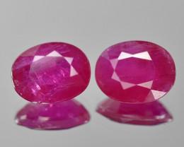 4.15 Cts 2pcs Pair Pinkish Red Natural Ruby BURMA  Loose Gemstone