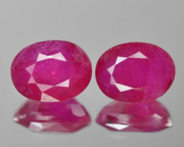3.96 Cts 2pcs Pair Pinkish Red Natural Ruby BURMA  Loose Gemstone