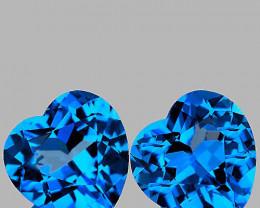7.00 mm Heart 2 pcs 3.18cts Swiss Blue Topaz [VVS]
