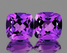 11.00 mm Cushion 2 pcs 9.90cts Purple Amethyst [VVS]
