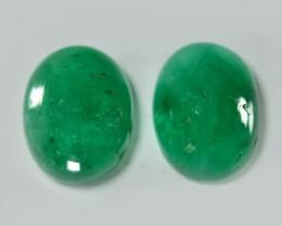 2.74 Cts 2pcs Pair Natural Vivid Green Zambian Emerald Loose Gemstone