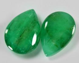 8.15 Cts 2pcs Pair Natural Vivid Green Zambian Emerald Loose Gemstone