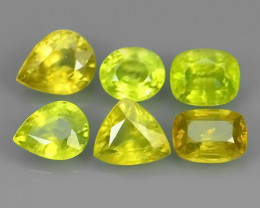 4.00 CTS NATURAL GREENISH-YELLOW SPHENE PARCEL 6 PCS~EXCELLENT!!