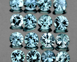 2.50 mm  Round 16 pcs Blue Aquamarine [VVS]