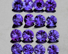 2.40 mm Round 16 pcs 1.10cts Violet Blue Sapphire [VVS]