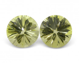 6.14 ct Round Lemon Citrine Fantasy Cut Pair