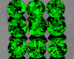 3.00 mm Round 9 pcs 1.24cts Chrome Green Diopside [VVS}