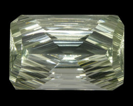 12.3 ct Emerald Cut Prasiolite Fantasy Cut-$1 No Reserve Auction