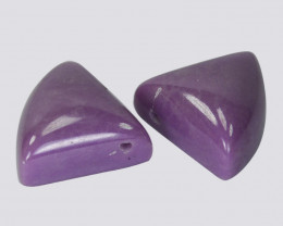 19.63Cts Natural Lavender Phosphosiderite Triangle Cab Pair Chile