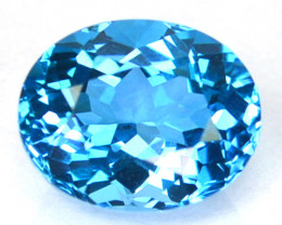 ~DAZZLING~ 3.72  Cts Natural Baby Blue Topaz 10x8mm Oval Cut Brazil