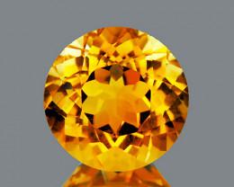 9.00 mm Round 5.60cts Golden Yellow Citrine [VVS}