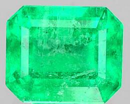 Natural Vivid Green Emerald Octagon Cut Colombia 0.47 Cts