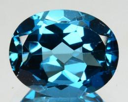 3.36 Cts Natural London Blue Topaz 10x8mm Oval Brilliant Cut Brazil
